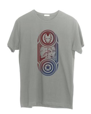 Shop Captain America Iron Man Half Sleeve T-Shirt (AVL)-Front