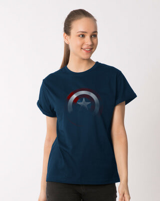 Shop Captain America Shadows Boyfriend T-Shirt (AVL)-Front