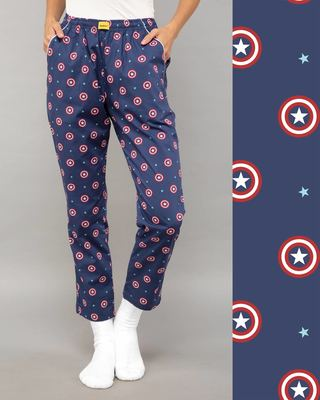 Shop Captain America Shield All Over Printed Pyjama (AVL)-Front