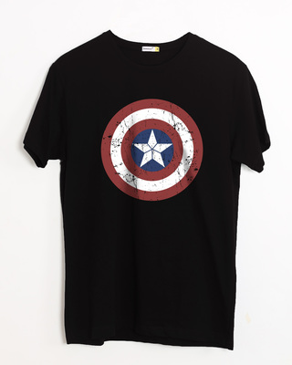 Shop Captain America Shield Half Sleeve T-Shirt (CA)-Front