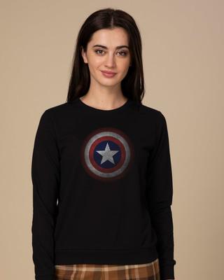Shop Captain America Shield Version 2 Fleece Sweater-Front