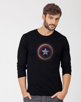 Shop Captain America Shield Version 2 Full Sleeve T-Shirt (AVL)-Front