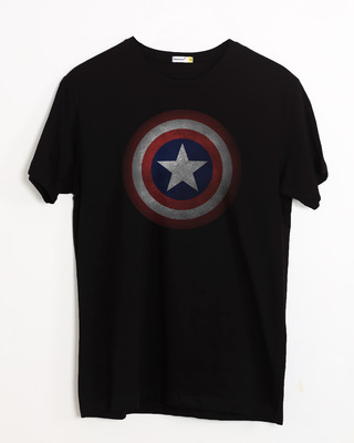 Shop Captain America Shield Version 2 Half Sleeve T-Shirt (AVL)-Front