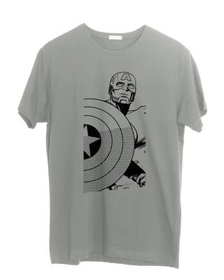 Shop Captain America Sketch Effect Half Sleeve T-Shirt (AVL)-Front