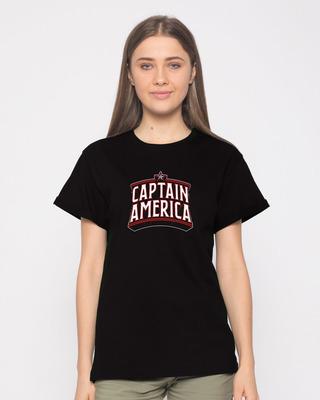 Shop Captain America Typo Boyfriend T-Shirt (AVL)-Front