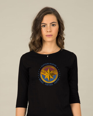 Shop Captain Marvel Logo 3/4th Sleeve T-Shirt (AVEGL)-Front