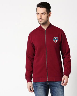 Shop Captain Shield Badge Bomber Jacket-Front