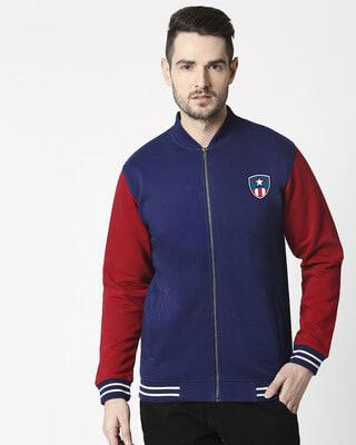 Shop Captain Shield Varsity Bomber Jacket-Front