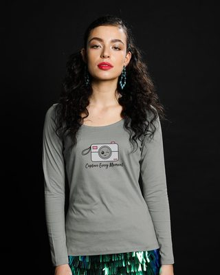 Shop Capture Moment Scoop Neck Full Sleeve T-Shirt-Front