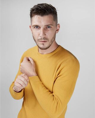 Shop Caramel Waffle Knit Full Sleeves Sweater-Front