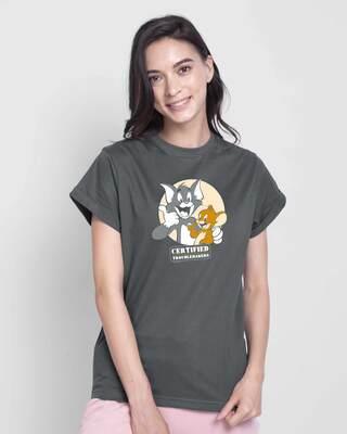 Shop Certified Troublemakers Boyfriend T-Shirt (TJL) Nimbus Grey-Front