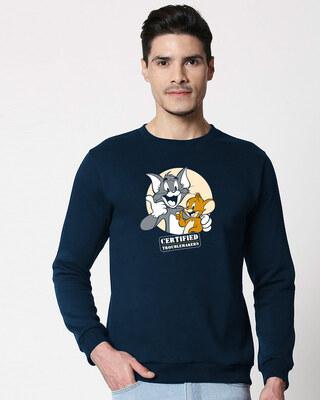 Shop Certified Troublemakers Fleece Sweater (TJL) Navy Blue-Front