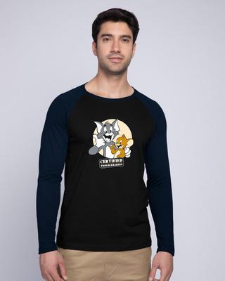 Shop Certified Troublemakers Full Sleeve Raglan T-Shirt (TJL) Navy Blue-Black-Front