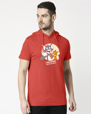 Shop Certified Troublemakers Half Sleeve Hoodie T-shirt-Front