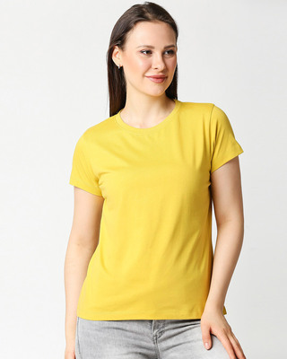 Shop Ceylon Yellow Half Sleeve Relaxed Fit T-Shirt-Front