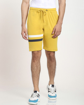 Shop Ceylon Yellow Men's Solid One Side Printed Strip Shorts-Front