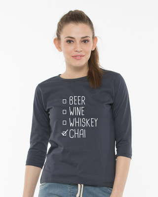 Shop Chai Round Neck 3/4th Sleeve T-Shirt-Front