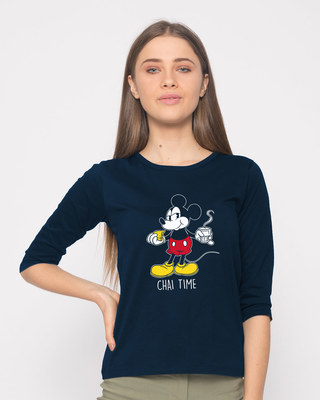 Shop Chai Time Mickey Round Neck 3/4th Sleeve T-Shirt (DL)-Front