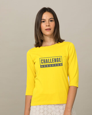 Shop Challenge Accepted By Me Round Neck 3/4th Sleeve T-Shirt-Front