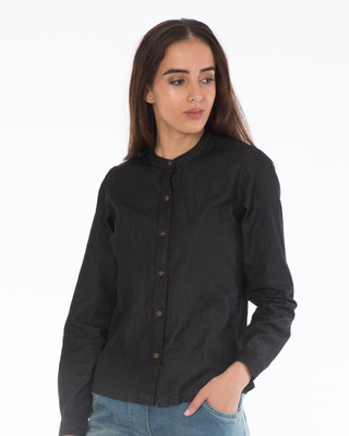 Shop Charcoal Black Denim Shirt-Front