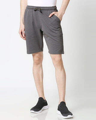 Shop Charcoal Grey Casual Shorts-Front