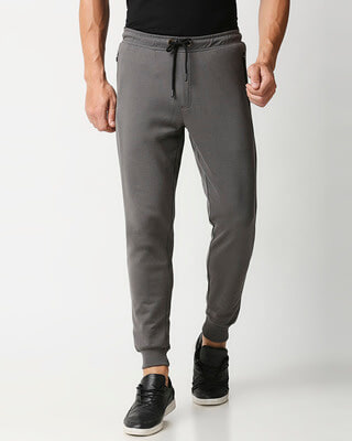 Shop Charcoal Grey Jogger Pants With Zipper-Front