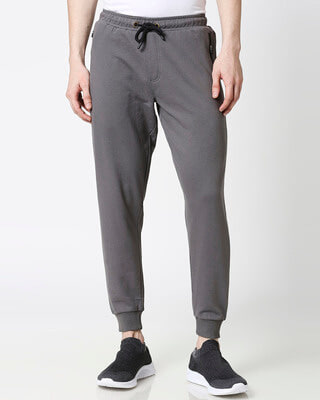 Shop Charcoal Grey Men's Casual Jogger Pants With Zipper-Front