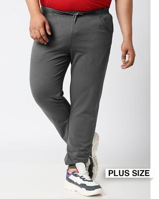 Shop Charcoal Grey Plus Size Casual Jogger Pants-Front