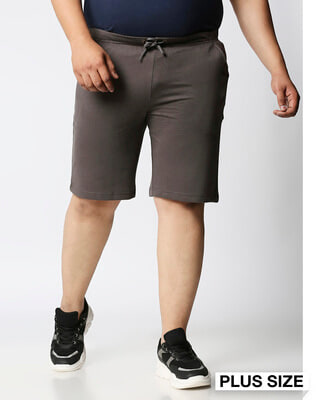 Shop Charcoal Grey Plus Size Casual Shorts-Front