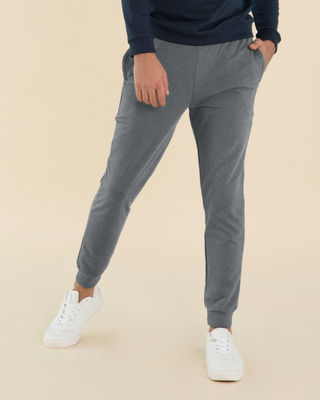 Shop Charcoal Heather Melange Zipper Joggers-Front