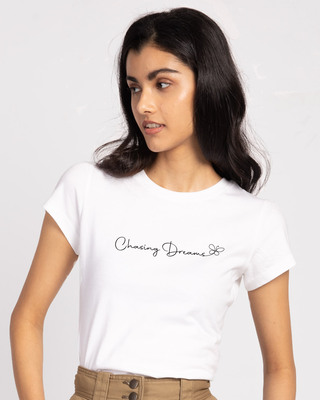 Shop Chasing Dream Half Sleeve Tshirt White-Front