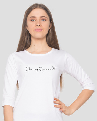 Shop Chasing Dream Round Neck 3/4 Sleeve T-Shirts White-Front