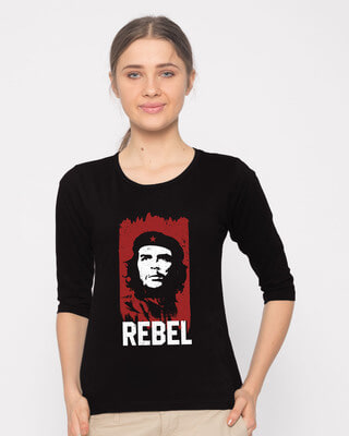 Shop Che Guevara Round Neck 3/4th Sleeve T-Shirt-Front
