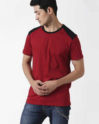 Shop Cherry Red Back Panel Half Sleeve T-Shirt-Front