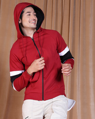 Shop Cherry Red Sports Trim ZIpper Hoodie-Front