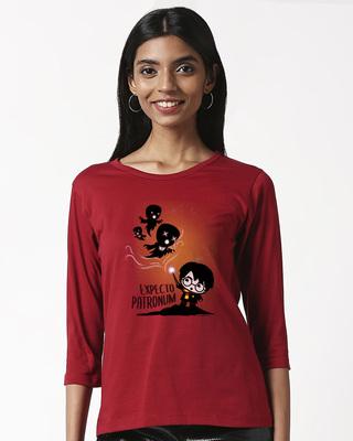 Shop Chibi Harry (HPL) Printed 3/4 Sleeve T-shirt-Front