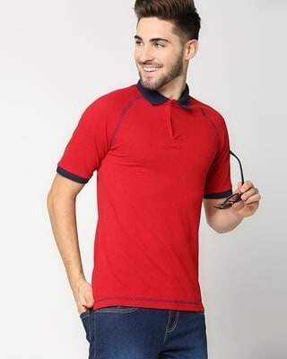 Shop Chili Pepper Raglan Contrast Polo-Front
