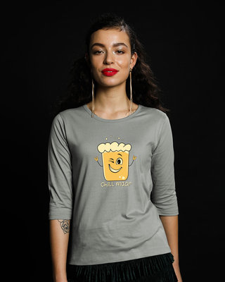 Shop Chill Maar Round Neck 3/4th Sleeve T-Shirt-Front