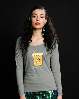 Shop Chill Maar Scoop Neck Full Sleeve T-Shirt-Front