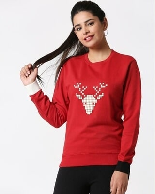 Shop Women HD Chest Print Red Sweatshirt-Front