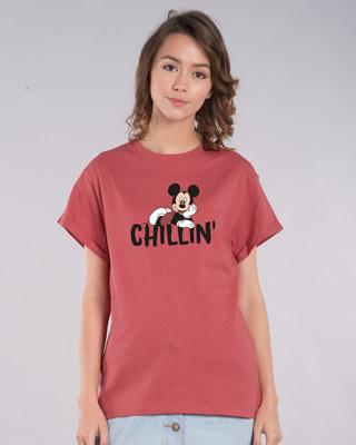 Shop Chilling Mickey Boyfriend T-Shirt (DL)-Front
