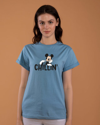 Shop Chilling Mickey Boyfriend T-Shirt (DL)-Front