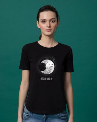 Shop Chilling Moon Basic Round Hem T-Shirt-Front