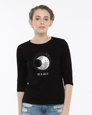Shop Chilling Moon Round Neck 3/4th Sleeve T-Shirt-Front
