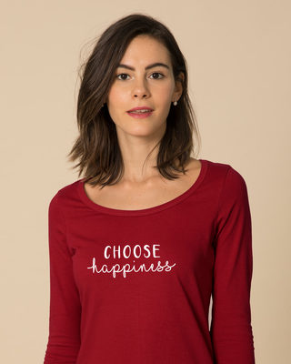 Shop Choose Happiness Scoop Neck Full Sleeve T-Shirt-Front