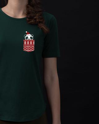 Shop Christmas Panda Basic Round Hem T-Shirt-Front