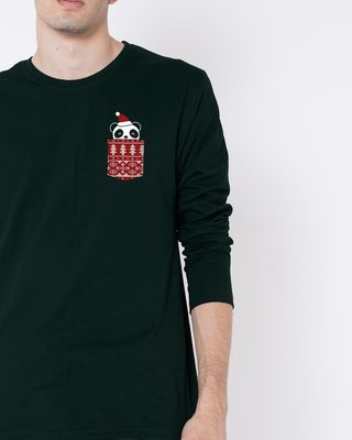 Shop Christmas Panda Full Sleeve T-Shirt-Front