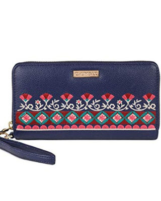Shop Chumbak Floral Bunch Embroidered Navy Long Wallet-Front