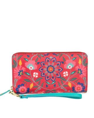 Shop Chumbak Lordly Lilies Long Wallet - Red-Front