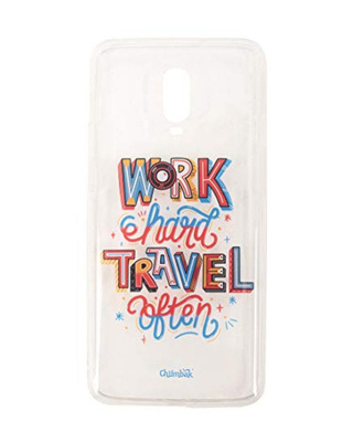 Shop Chumbak OnePlus 6T Work Hard Travel Often 3D Mobile Cover-Front
